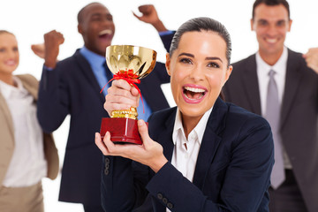excited business team winning a trophy