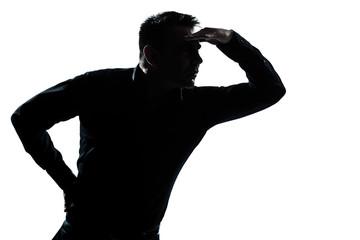 silhouette man portrait looking away forward gesture