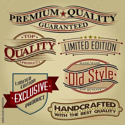 Set of Retro Seal, Labels and Calligraphic Designs