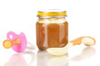 Useful and tasty baby food with beige small spoon isolated