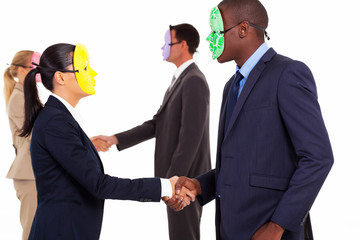 business people with mask handshake on white