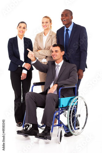 handicapped business leader on wheelchair pointing