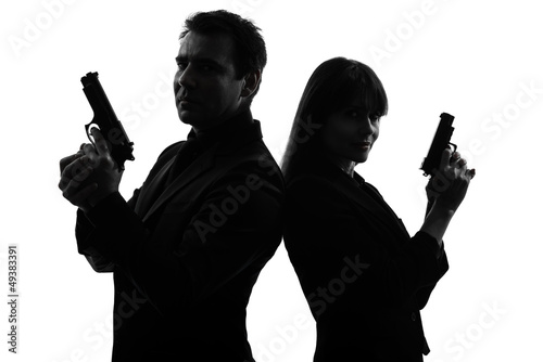 couple woman man detective secret agent criminal  silhouette