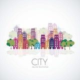 Fototapety city buildings silhouettes