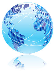Globe with internet connection lines between world countries.