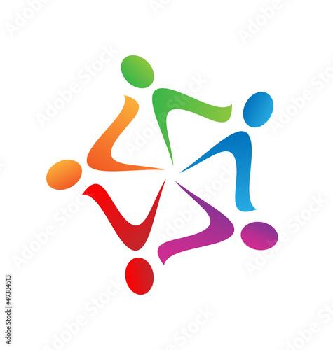 Teamwork swoosh logo vector