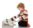 cute kid making a checkup of a puppy dog. isolated on white