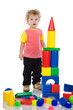 baby boy build house. Isolated on a white