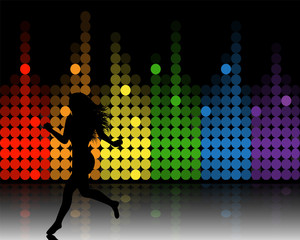 music equalizer and running girl