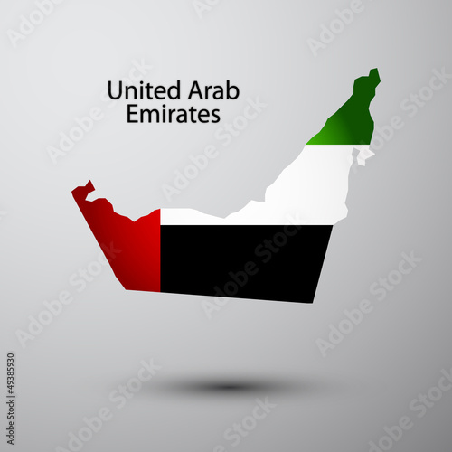 United Arab Emirated flag on map