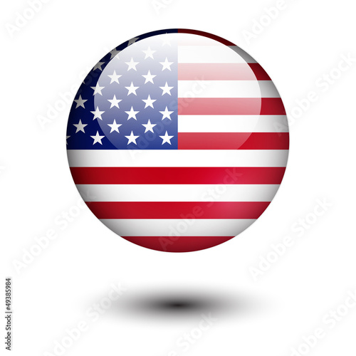 United State of America flag on glossy button