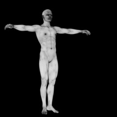 High resolution conceptual 3d man standing over black background