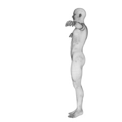 High resolution conceptual 3d man standing over white background