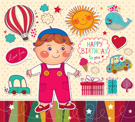Happy Birthday card with boy and toys