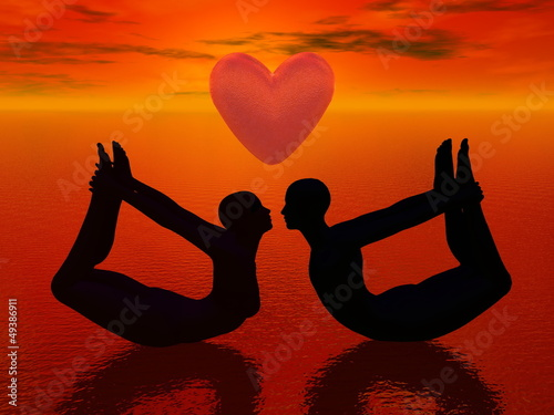 Yoga love - 3D render