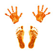 Prints of children's painted hands and feet.