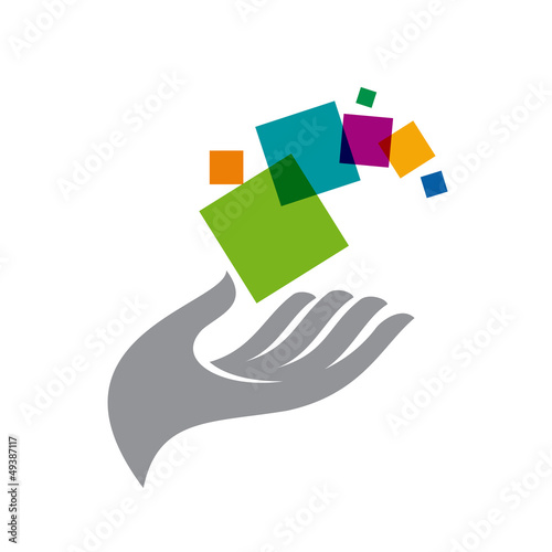 Vector logo Hand and pixels