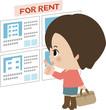 賃貸住宅の情報を閲覧する若い女性