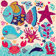 Cartoon vector illustration with fishes