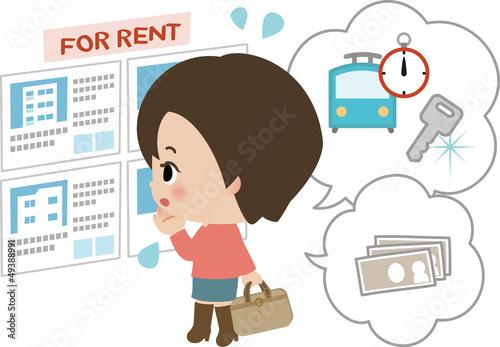 賃貸住宅探しに迷う若い女性