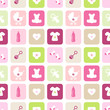 Seamless Pattern Baby Symbols Girl