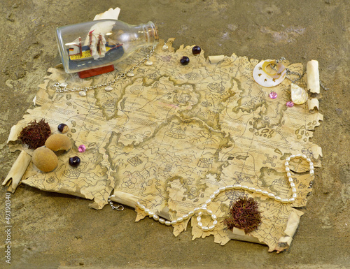 Old map with treasures