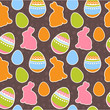 Easter eggs and bunnies seamless pattern