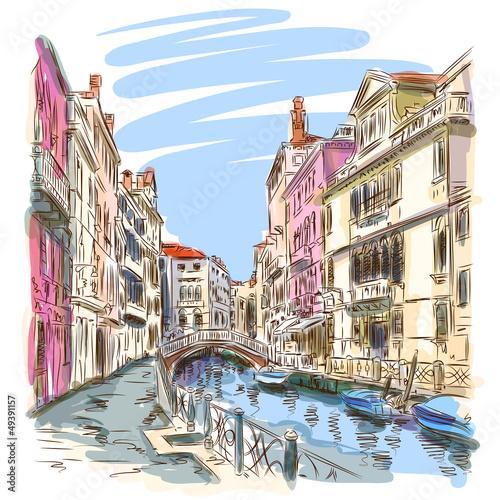 Venice - Fondamenta Rio Marin. Vector sketch - 49391157