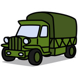 Cartoon Car 76 : Military Truck