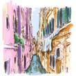 Venice - Calle Frutarol. Vector sketch