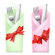 knife and fork in envelope with bows