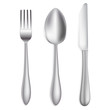 knife,spoon and fork on white