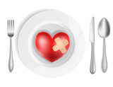 concept with plate, fork, knife and heart