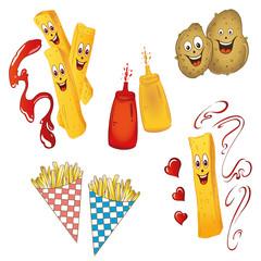 Fast food, Kartoffeln, Pommes, Fritten, vector set