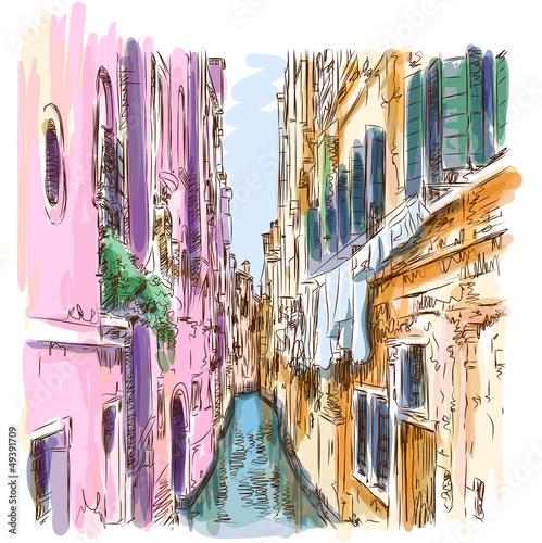 Venice - Calle Frutarol. Vector sketch - 49391709