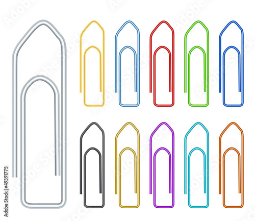 multi-color paper clips on white background