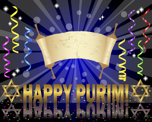 Purim background with Torah scroll.