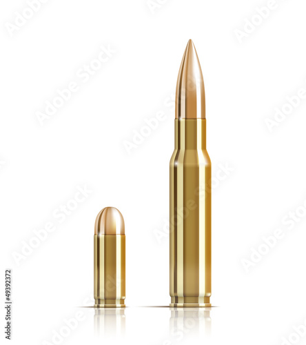 Ammunition bullets on white