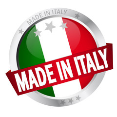 "Button mit Banner ""MADE IN ITALY"""