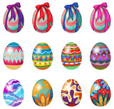 Fototapety Easter eggs with designs and ribbons
