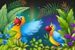 Two birds in a dark forest