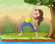 A girl exercise under a tree