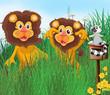 Three animals in the grass