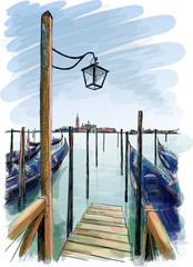 Venice. Street lamp and gondolas on the water