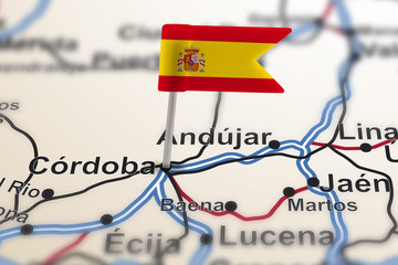 pin with flag of Spain in Cordoba