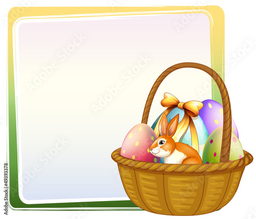 A basket of Easter egg with a bunny
