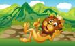 A king lion across the mountain