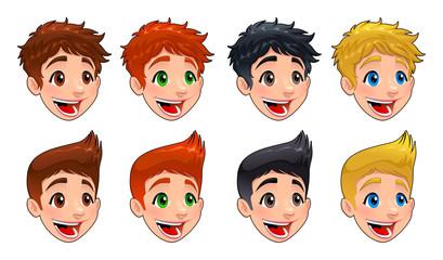 Faces of boys.
