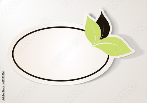 Eco Friendly Sticker, Oval Tag. Bio note