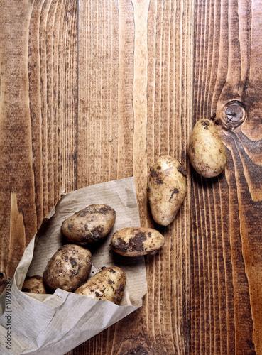 Farm fresh potatoes at market